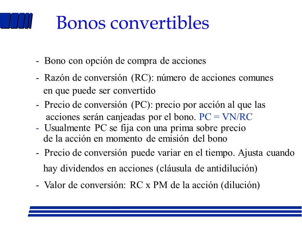 Bonos convertibles - Bono con opción de compra de acciones
