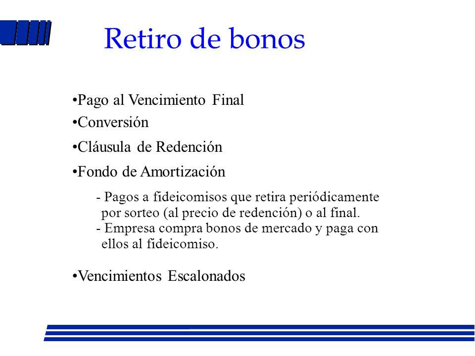 Retiro de bonos Pago al Vencimiento Final Conversión