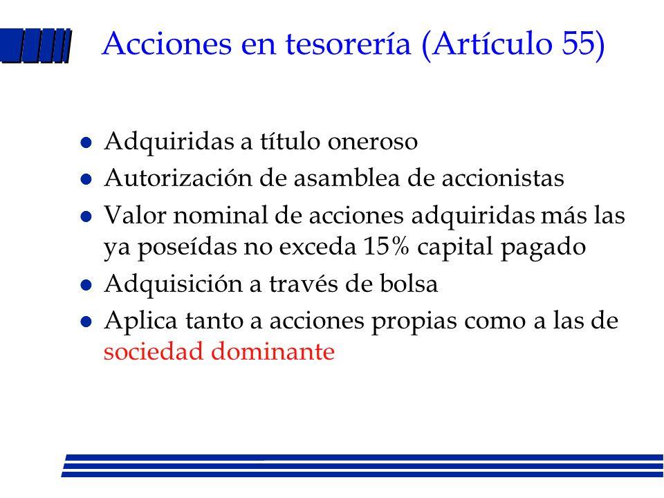 Acciones en tesorería (Artículo 55)