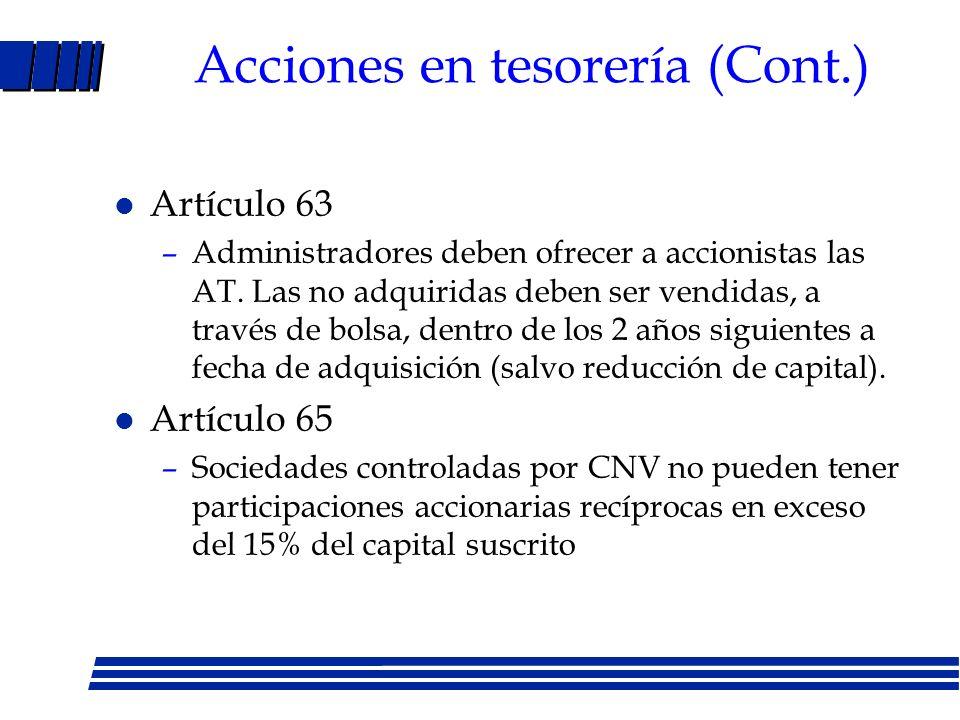 Acciones en tesorería (Cont.)