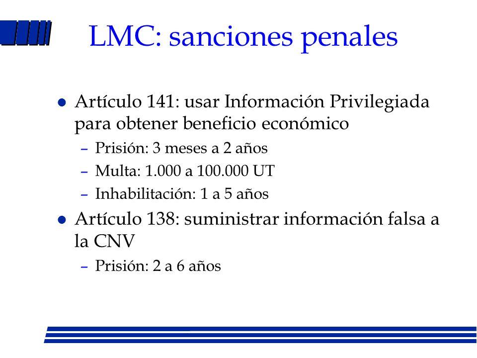 LMC: sanciones penales
