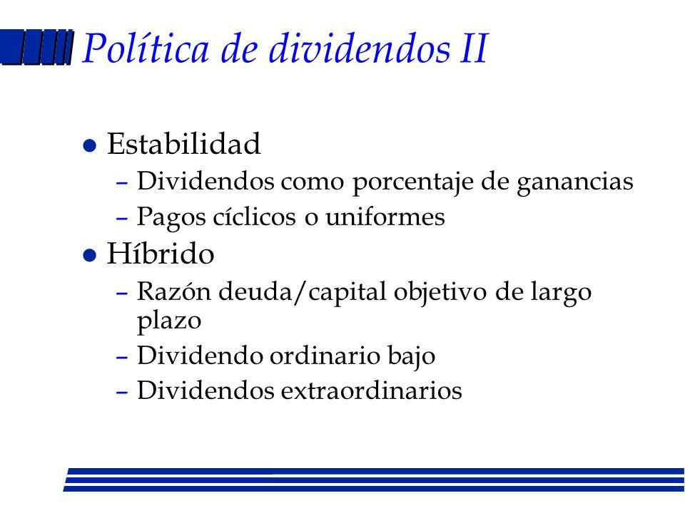 Política de dividendos II
