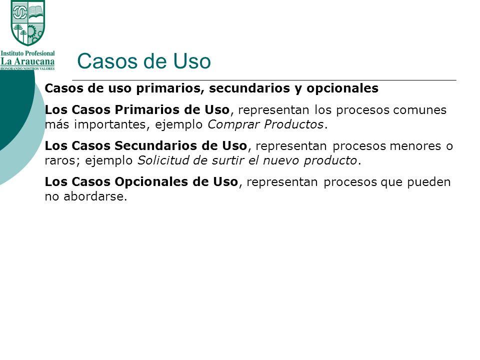 Casos de Uso Casos de uso primarios, secundarios y opcionales