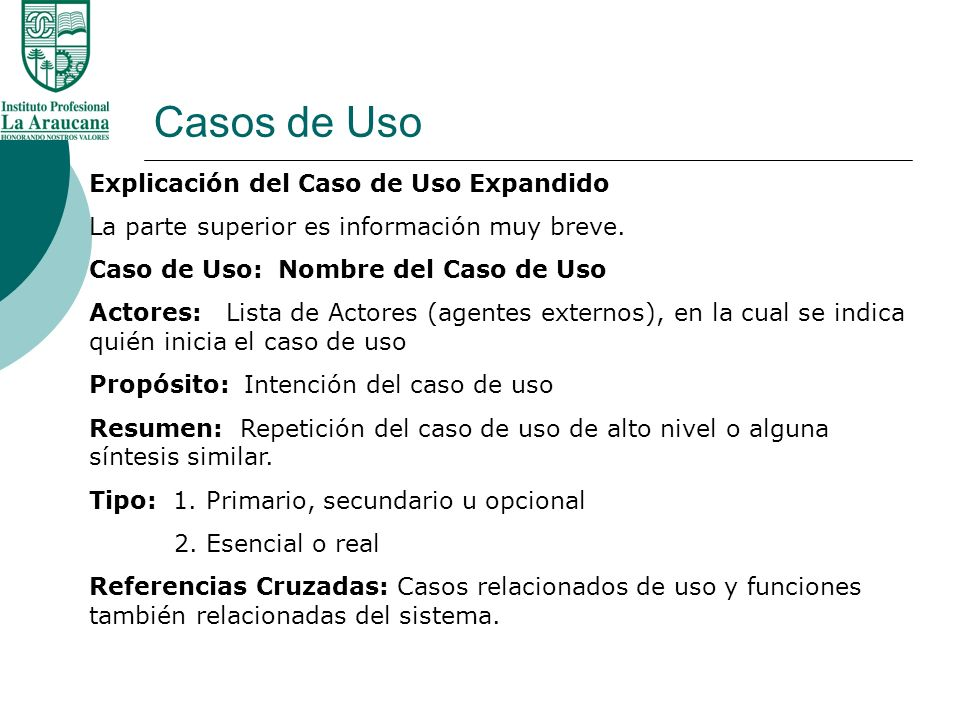 Casos de Uso Explicación del Caso de Uso Expandido