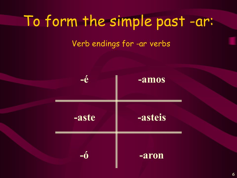 To form the simple past -ar: