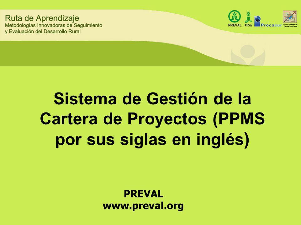 Sistema de Gestión de la Cartera de Proyectos (PPMS por sus siglas en inglés)