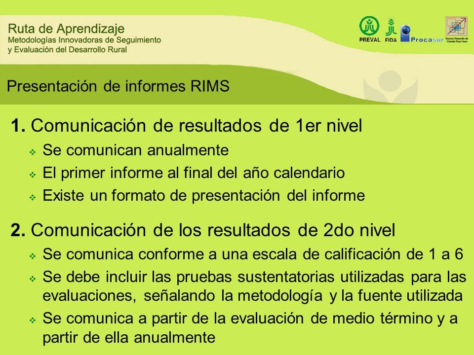 Presentación de informes RIMS