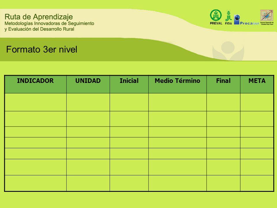 Formato 3er nivel INDICADOR UNIDAD Inicial Medio Término Final META