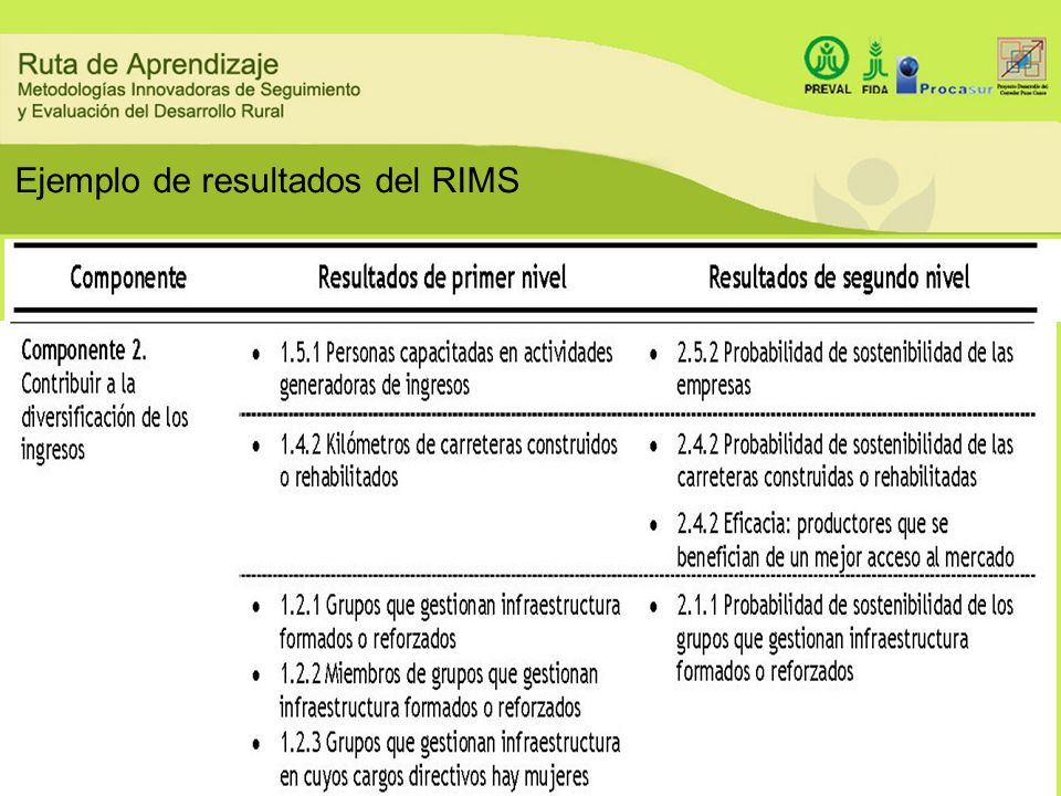 Ejemplo de resultados del RIMS