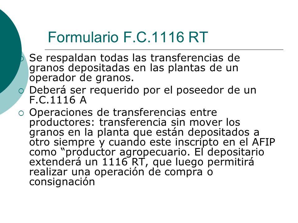 Formulario F.C.1116 RT Se respaldan todas las transferencias de granos depositadas en las plantas de un operador de granos.