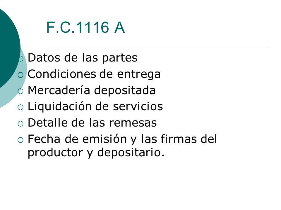 F.C.1116 A Datos de las partes Condiciones de entrega