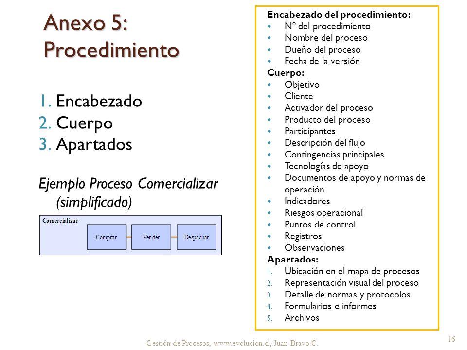 Anexo 5: Procedimiento Encabezado Cuerpo Apartados