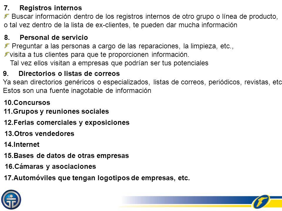 7. Registros internos Buscar información dentro de los registros internos de otro grupo o línea de producto,