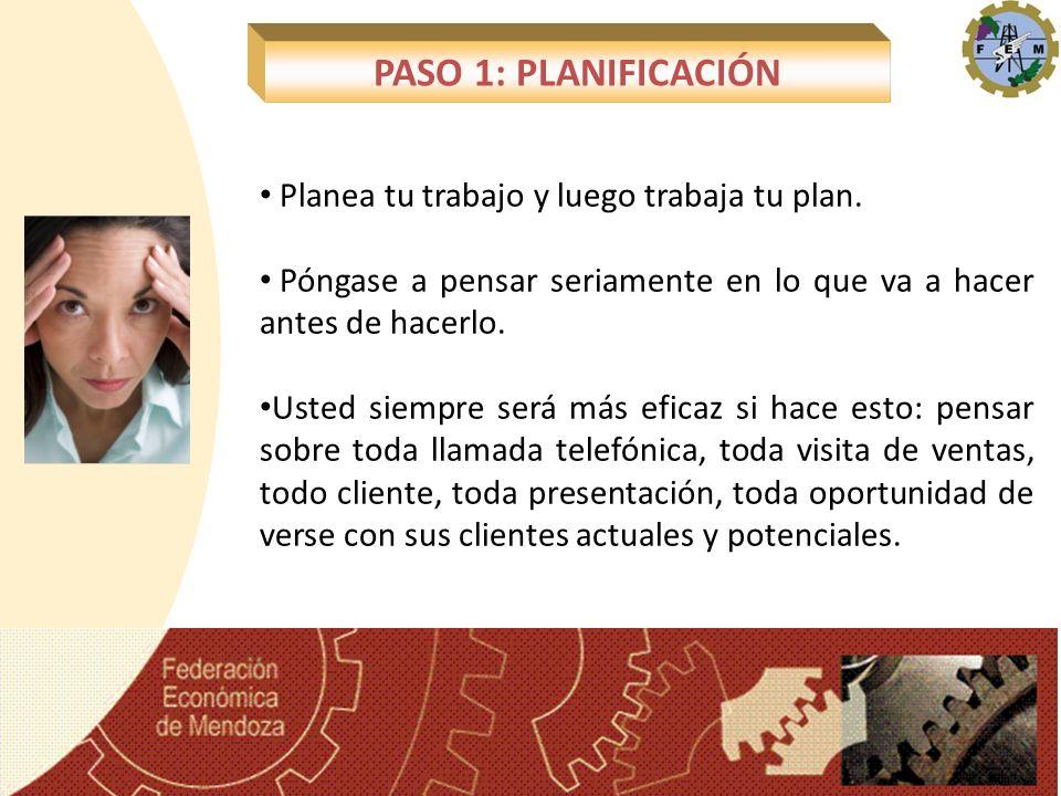 PASO 1: PLANIFICACIÓN Planea tu trabajo y luego trabaja tu plan.