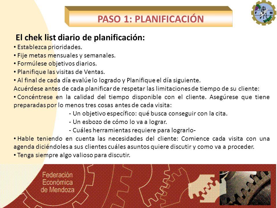 PASO 1: PLANIFICACIÓN El chek list diario de planificación: