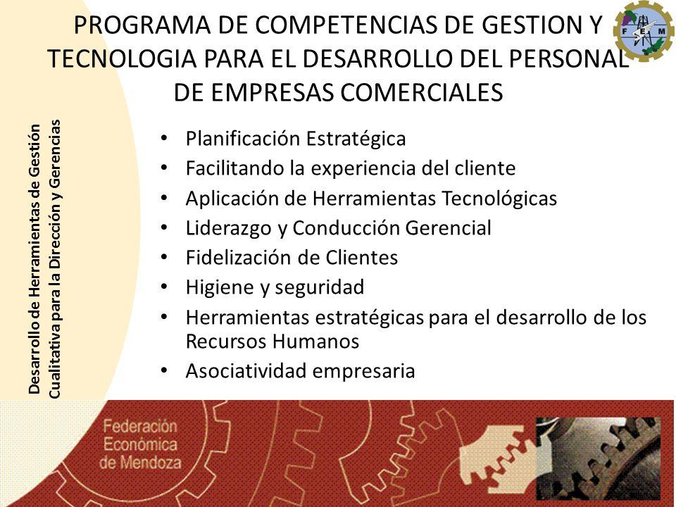PROGRAMA DE COMPETENCIAS DE GESTION Y TECNOLOGIA PARA EL DESARROLLO DEL PERSONAL DE EMPRESAS COMERCIALES