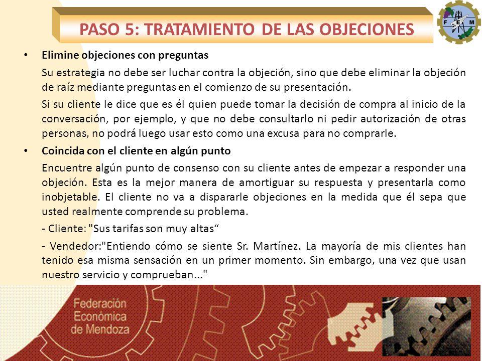 PASO 5: TRATAMIENTO DE LAS OBJECIONES