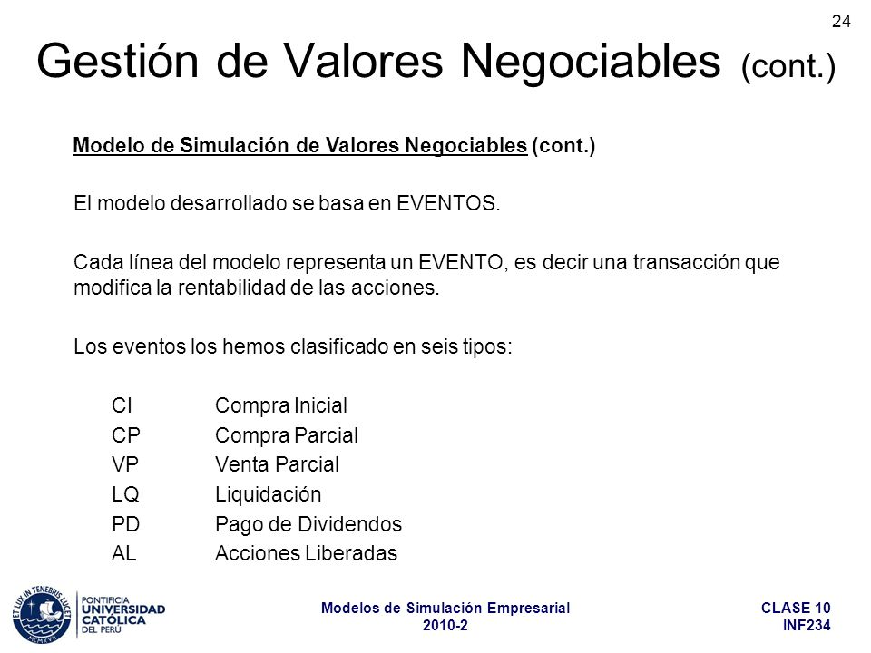 Gestión de Valores Negociables (cont.)