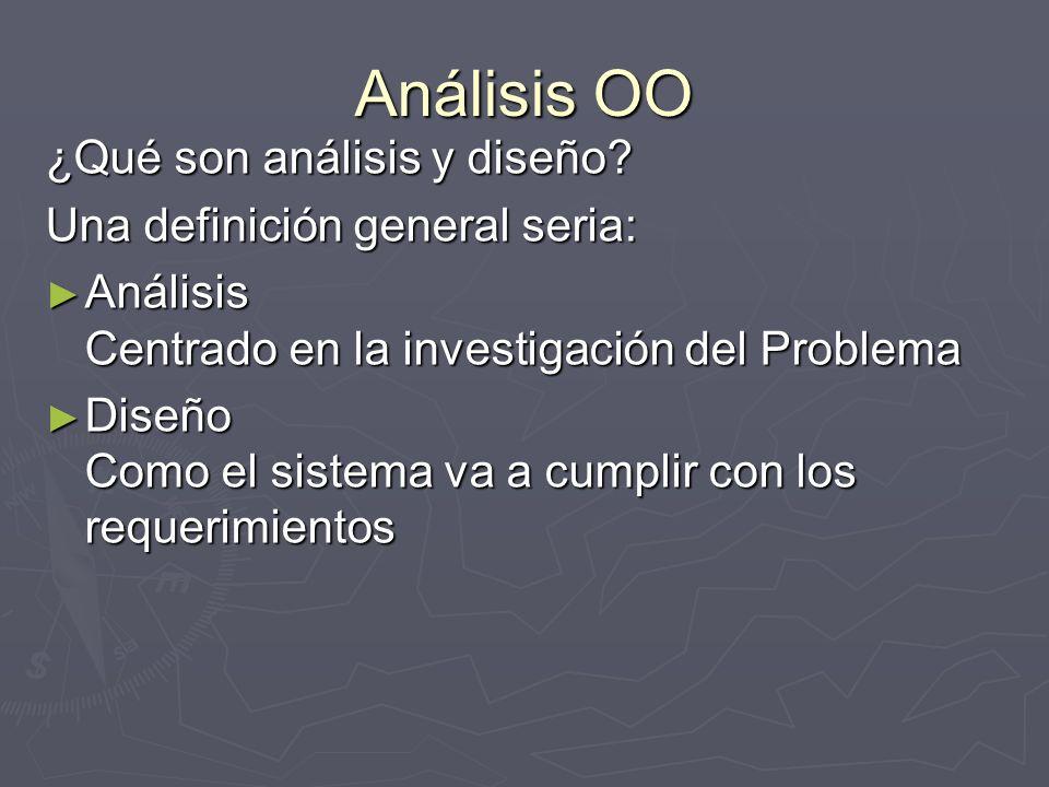 Análisis OO ¿Qué son análisis y diseño Una definición general seria: