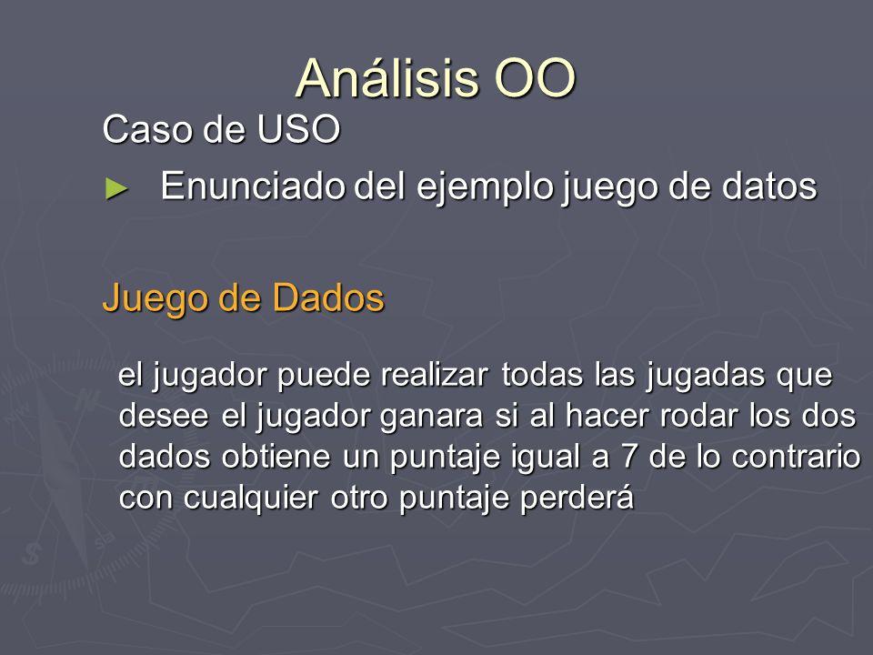 Análisis OO Caso de USO Enunciado del ejemplo juego de datos