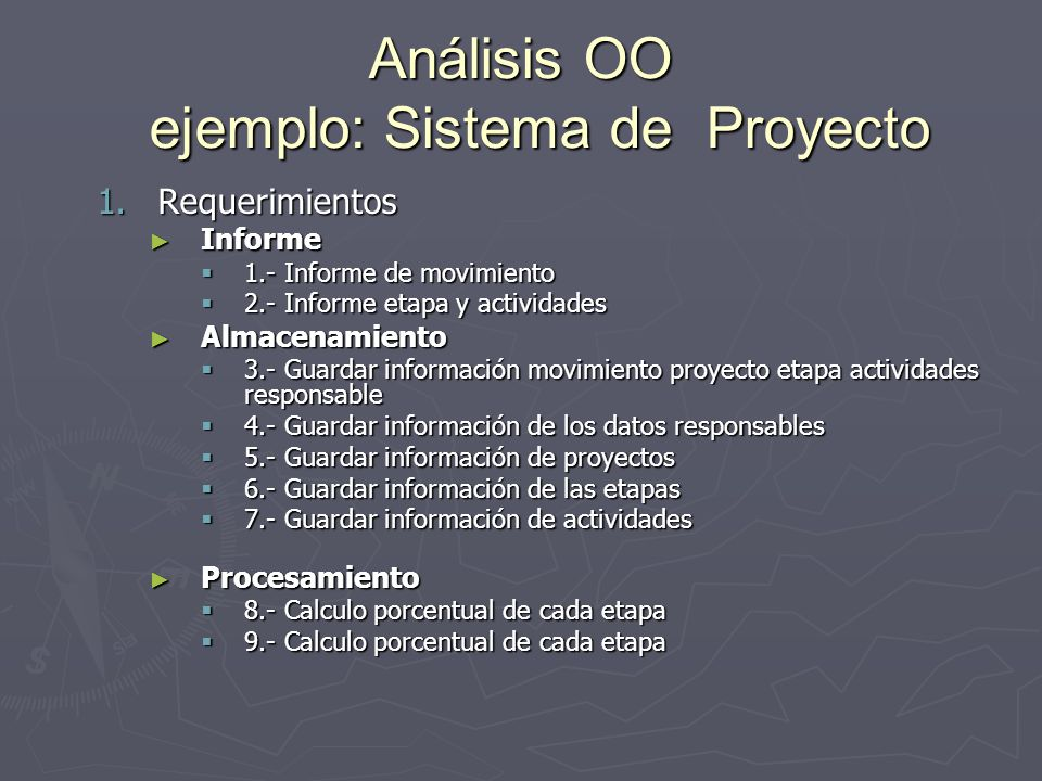 Análisis OO ejemplo: Sistema de Proyecto