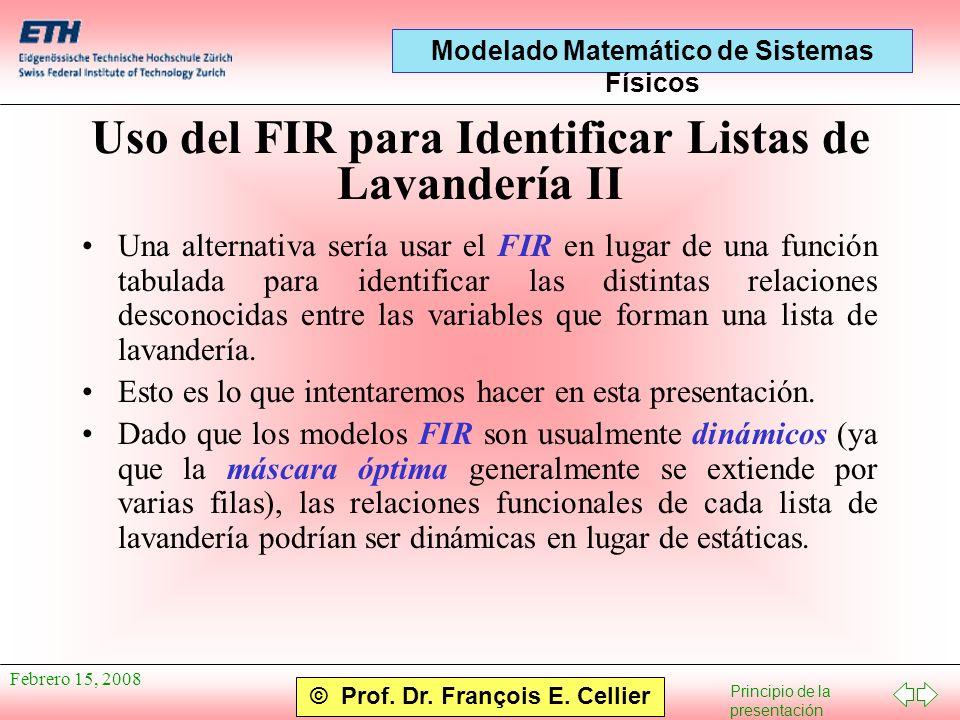 Uso del FIR para Identificar Listas de Lavandería II