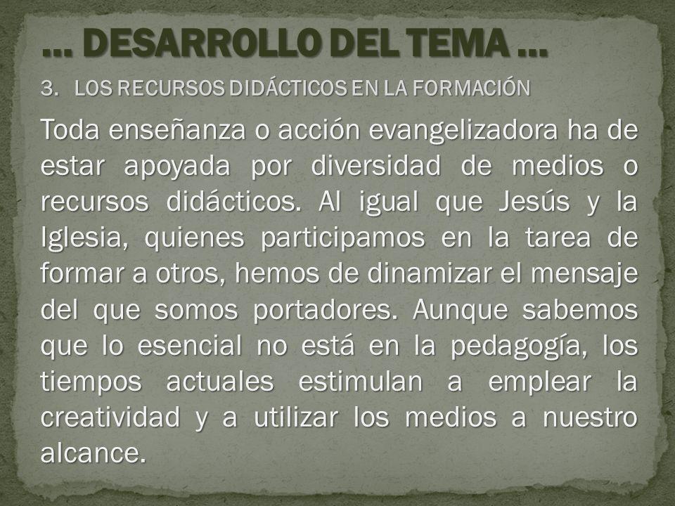 … DESARROLLO DEL TEMA … LOS RECURSOS DIDÁCTICOS EN LA FORMACIÓN.