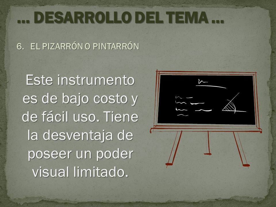… DESARROLLO DEL TEMA … EL PIZARRÓN O PINTARRÓN.