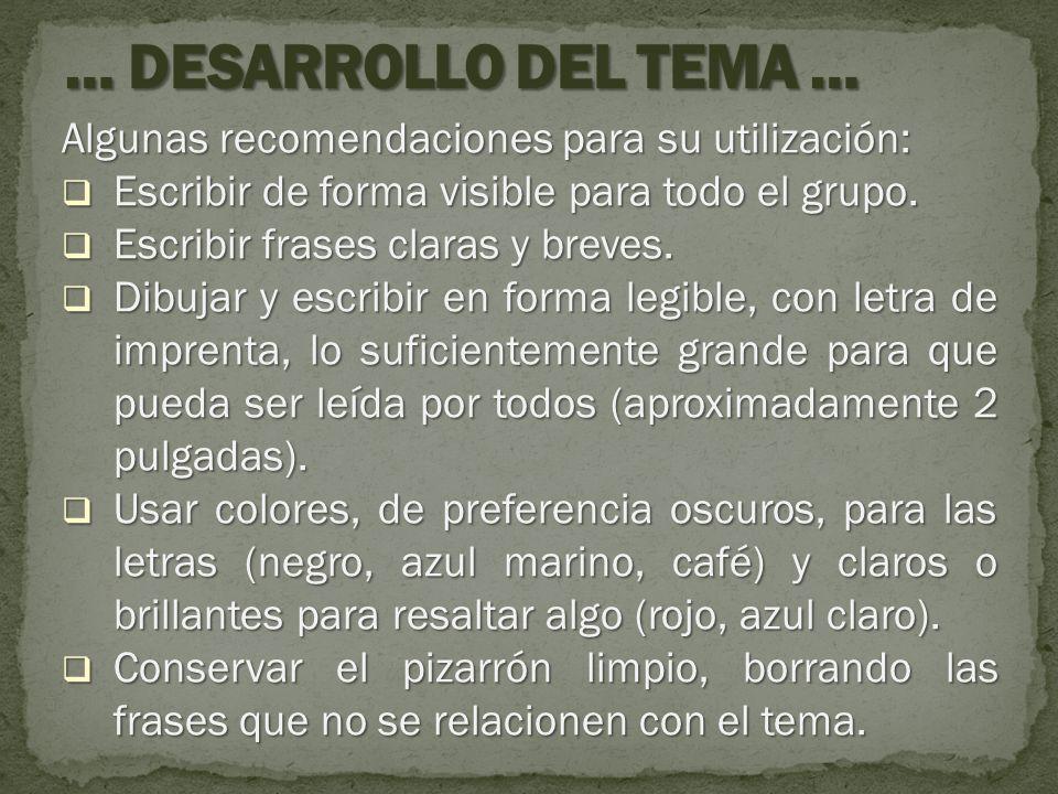 … DESARROLLO DEL TEMA … Algunas recomendaciones para su utilización:
