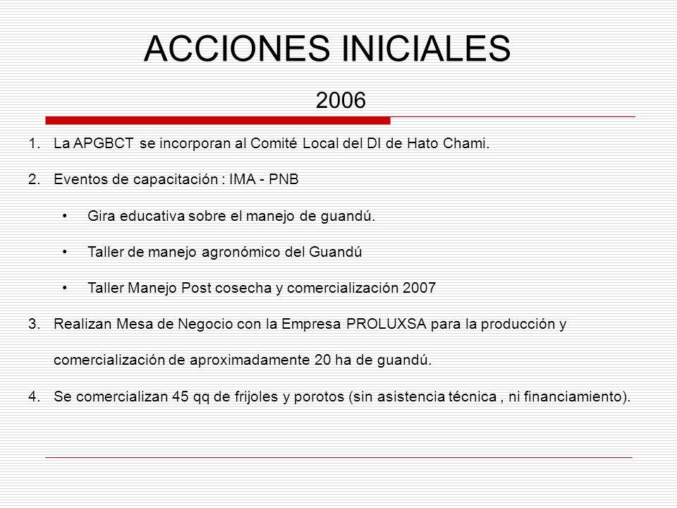 ACCIONES INICIALES 2006. La APGBCT se incorporan al Comité Local del DI de Hato Chami. Eventos de capacitación : IMA - PNB.