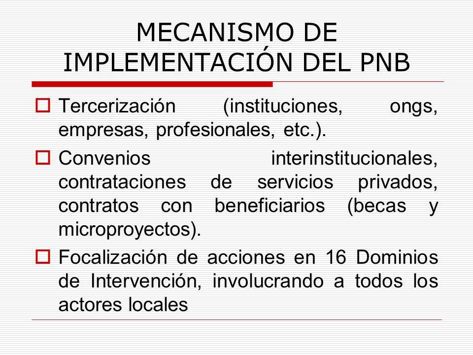 MECANISMO DE IMPLEMENTACIÓN DEL PNB