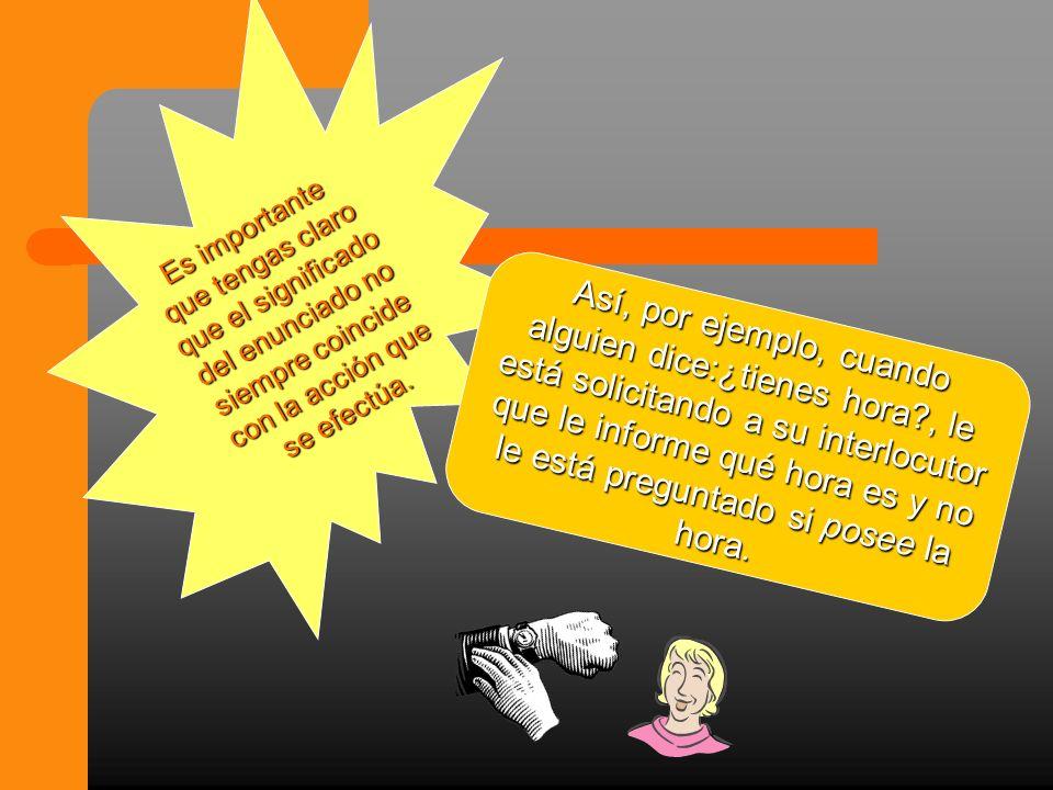 Es importante que tengas claro que el significado del enunciado no siempre coincide con la acción que se efectúa.