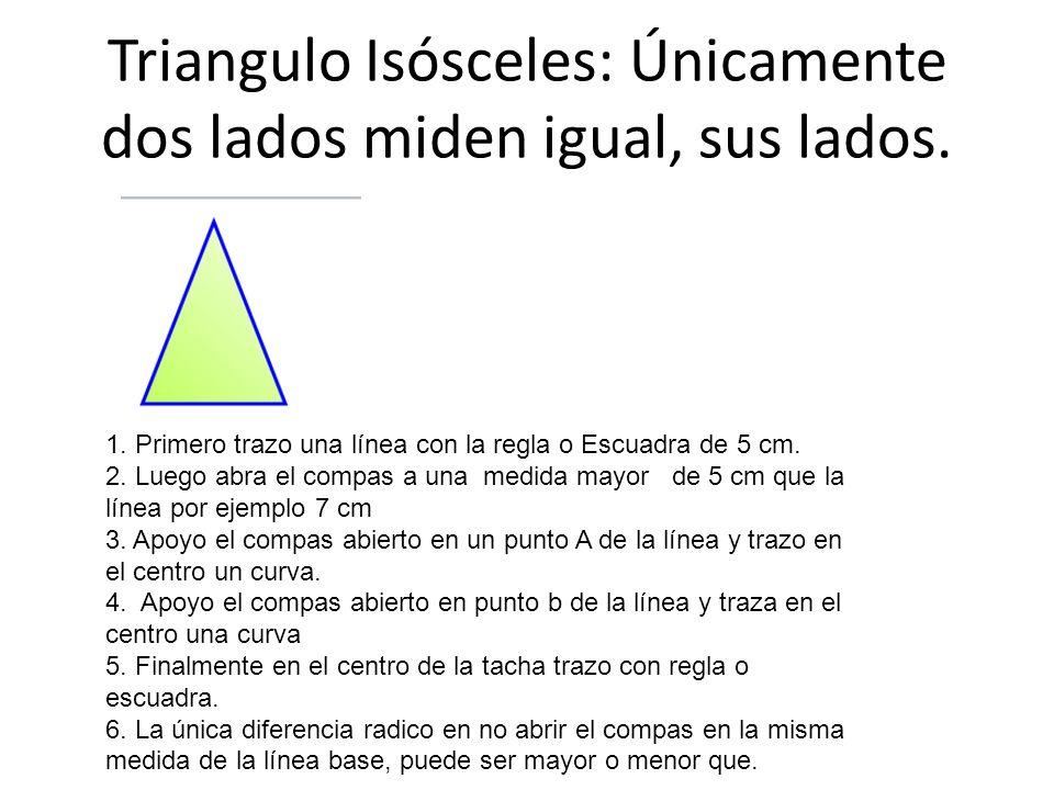 Triangulo Isósceles: Únicamente dos lados miden igual, sus lados.