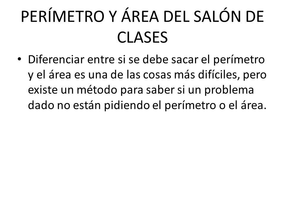 PERÍMETRO Y ÁREA DEL SALÓN DE CLASES