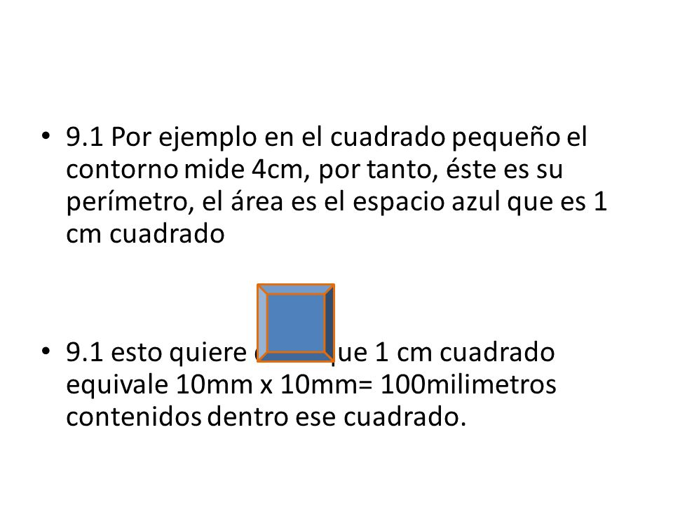 9.1 Por ejemplo en el cuadrado pequeño el contorno mide 4cm, por tanto, éste es su perímetro, el área es el espacio azul que es 1 cm cuadrado
