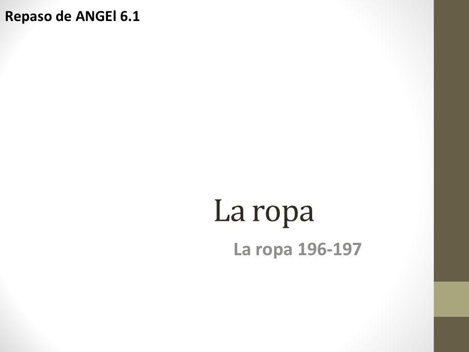 Repaso de ANGEl 6.1 La ropa La ropa 196-197