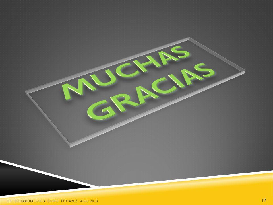 MUCHAS GRACIAS Dr. Eduardo Cola Lopez Echaniz Ago 2013