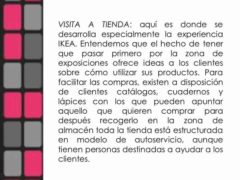 VISITA A TIENDA: aquí es donde se desarrolla especialmente la experiencia IKEA.