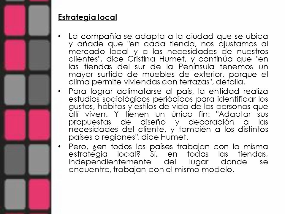 Estrategia local