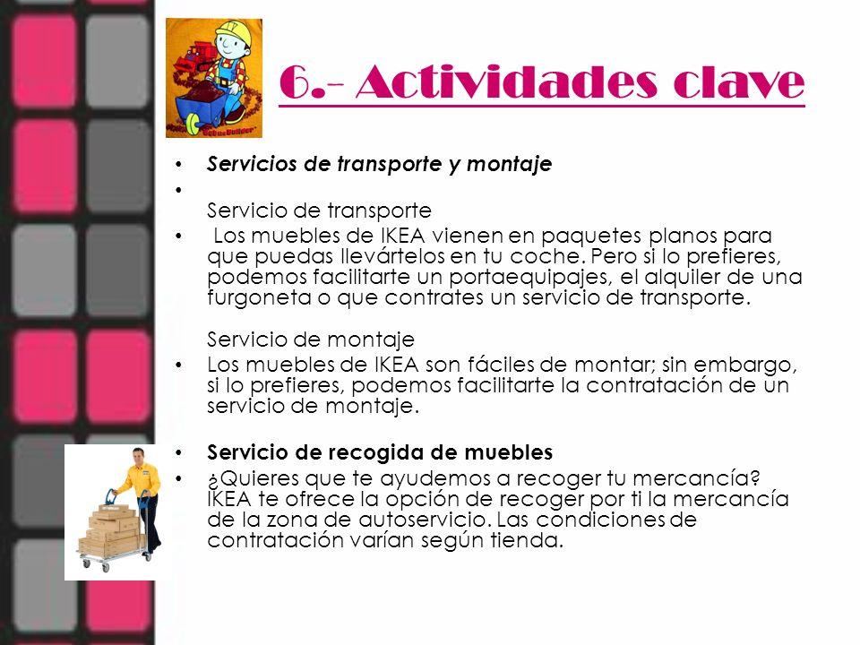 6.- Actividades clave Servicios de transporte y montaje