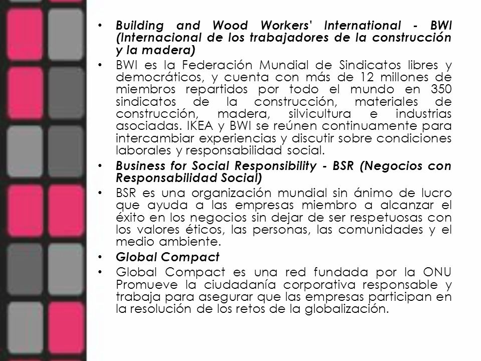 Building and Wood Workers International - BWI (Internacional de los trabajadores de la construcción y la madera)