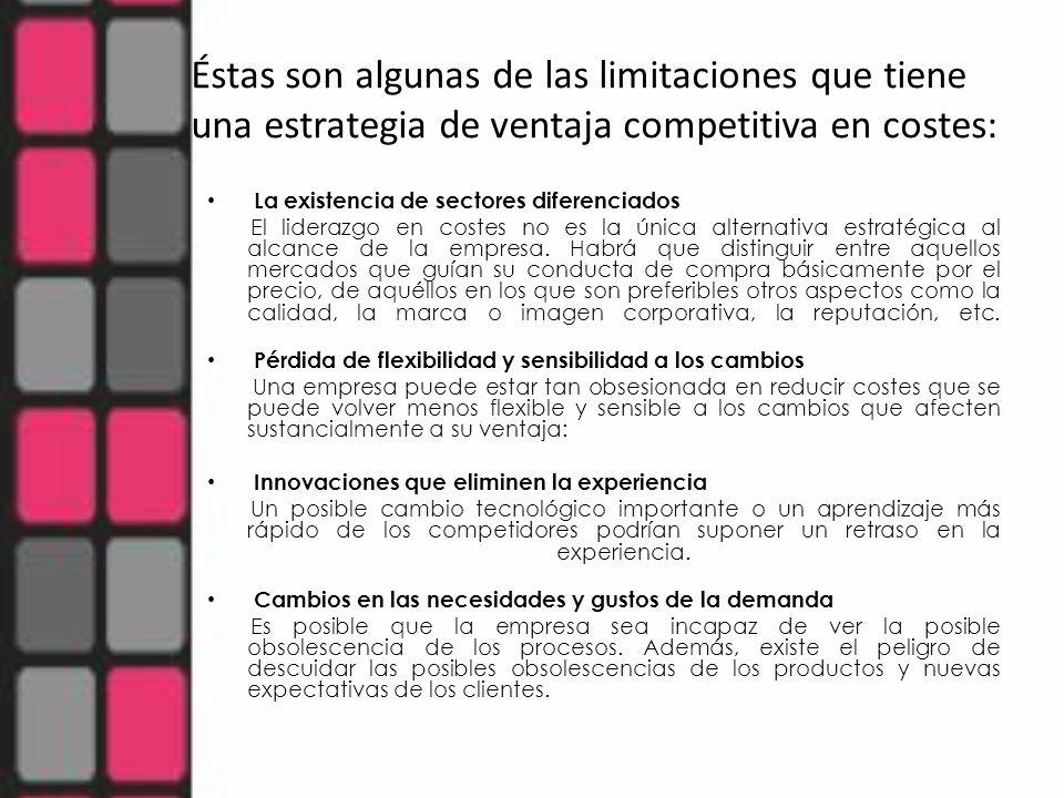 Éstas son algunas de las limitaciones que tiene una estrategia de ventaja competitiva en costes: