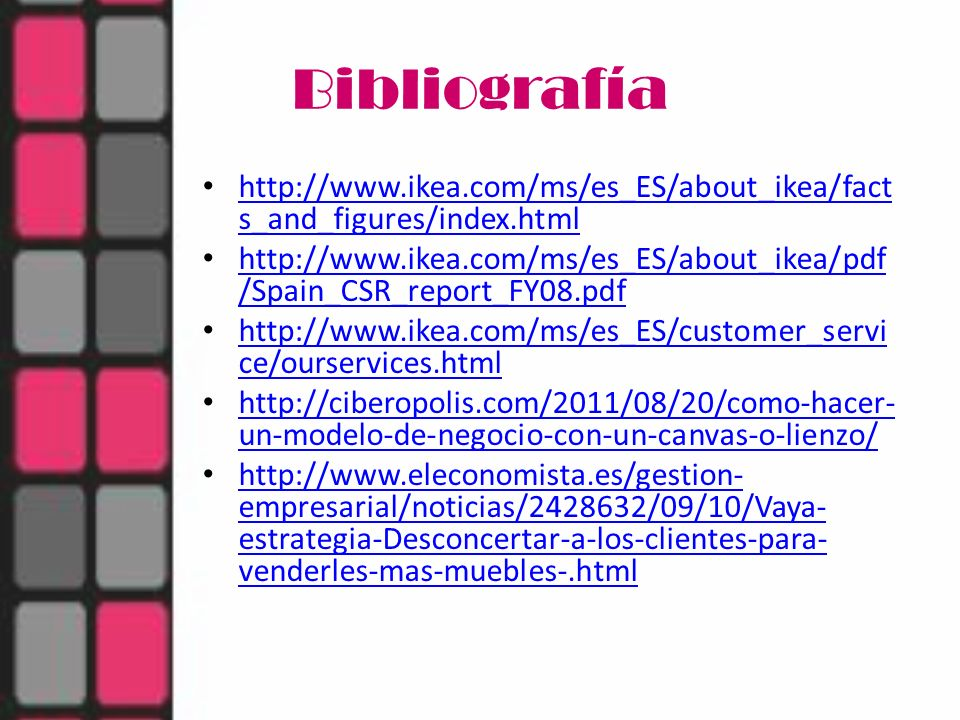 Bibliografía http://www.ikea.com/ms/es_ES/about_ikea/facts_and_figures/index.html.