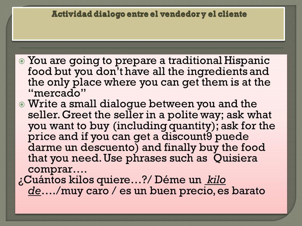 Actividad dialogo entre el vendedor y el cliente