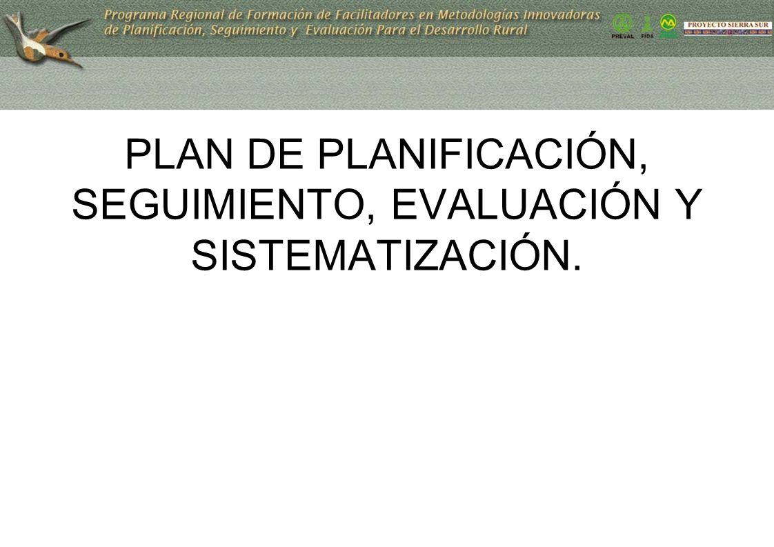 PLAN DE PLANIFICACIÓN, SEGUIMIENTO, EVALUACIÓN Y SISTEMATIZACIÓN.