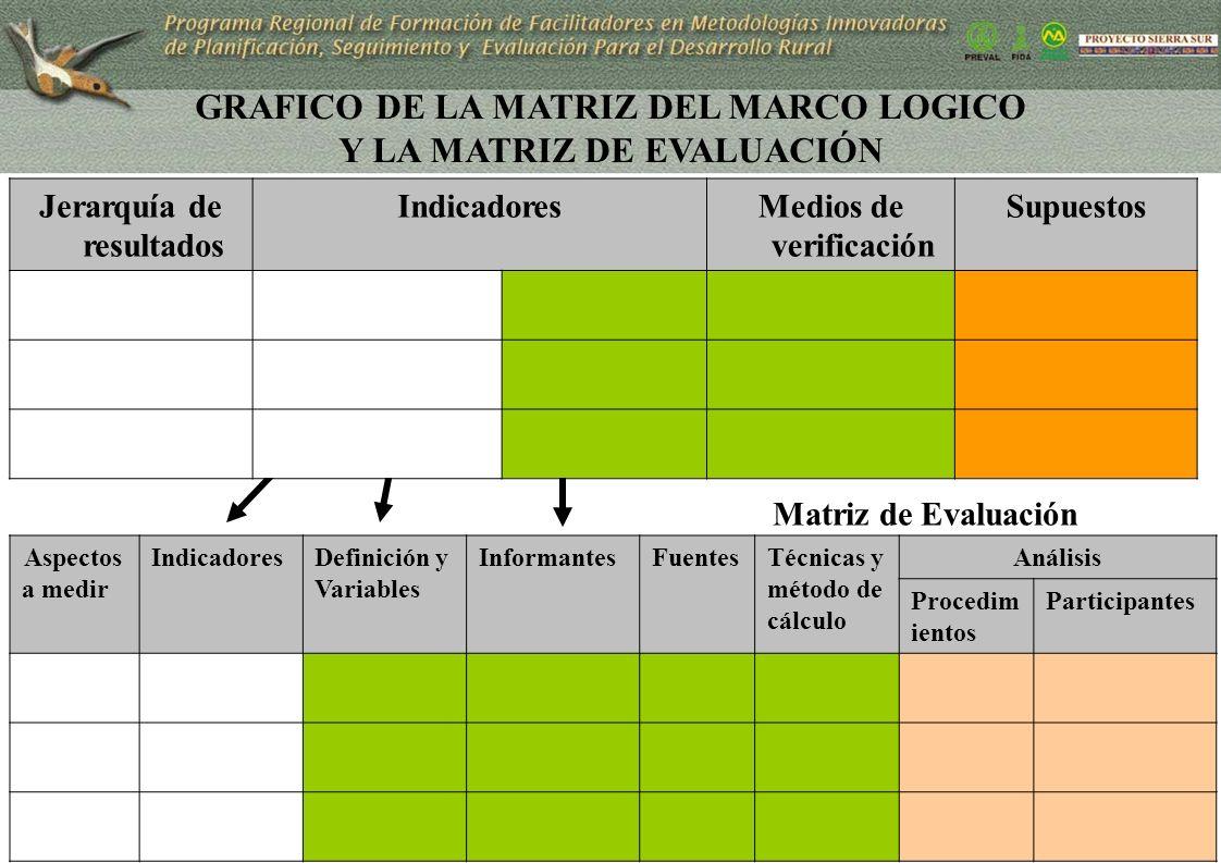 GRAFICO DE LA MATRIZ DEL MARCO LOGICO Y LA MATRIZ DE EVALUACIÓN