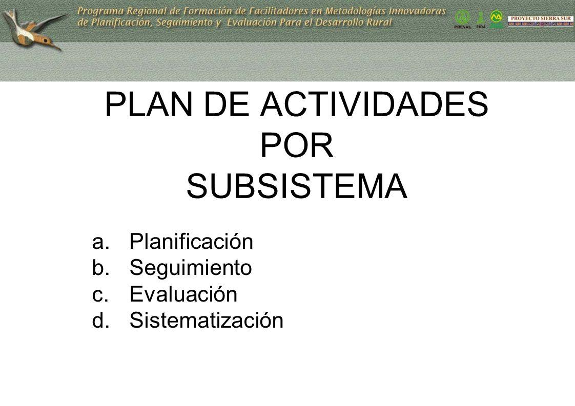 PLAN DE ACTIVIDADES POR SUBSISTEMA