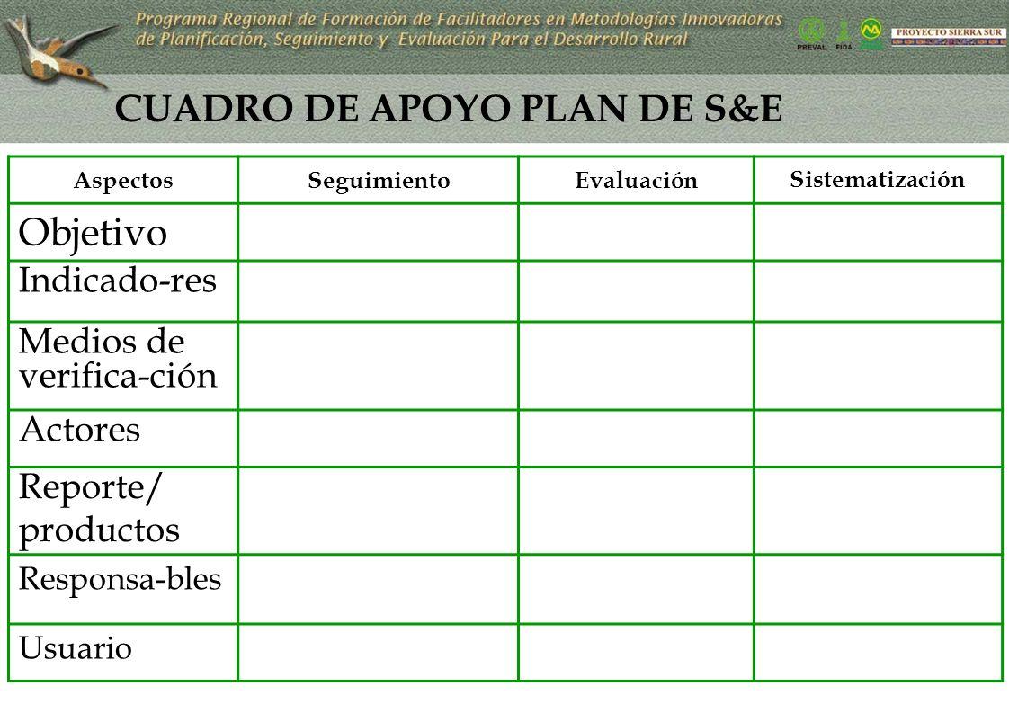 CUADRO DE APOYO PLAN DE S&E