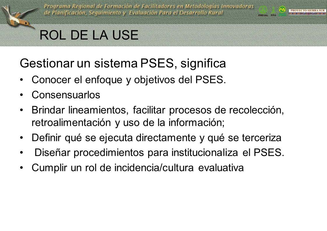 ROL DE LA USE Gestionar un sistema PSES, significa