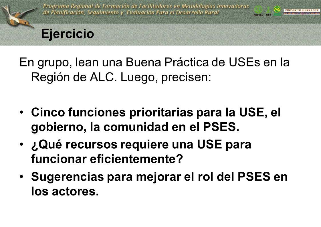 Ejercicio En grupo, lean una Buena Práctica de USEs en la Región de ALC. Luego, precisen: